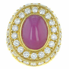 18K Yellow Gold with 14,75 Ct Red Ruby & 11, 8 Ct Diamonds Hand-Made Men's Ring
