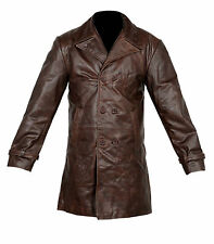 VINTAGE MENS BROWN DISTRESSED COW HIDE REAL LEATHER LONG TRENCH COAT JACKET