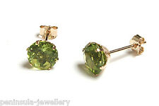 9ct Gold Peridot earrings Stud Gift Boxed Made in UK