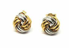 9ct Yellow and White Gold  Four Way Double Knot Stud Earrings       6219