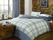 Marlowe Blue Reversible Checked Striped Double Duvet Cover Bedding Bed Set