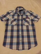 "Men's DIESEL Blue Checked Short Sleeve Shirt Size L 38"" Chest VGC"