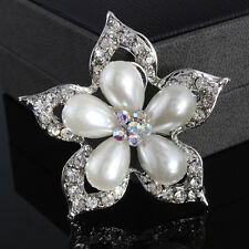 "2"" Large Silver Pearl Rhinestone Diamante Aurora Borealis Flower Brooch Wedding"