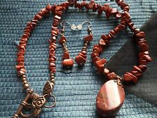 Red Jasper gemstone Ethnic Wicca Boho Chakra Pendant NECKLACE & EARRINGS GIFTset