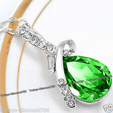 Xmas Gifts For Her - Silver & Green Crystal Necklace Love Girlfriend Wife Women