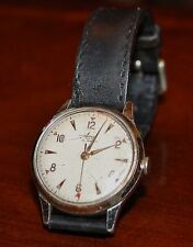 VINTAGE AVIA MENS WRISTWATCH RED ARROW SECOND HAND c 1940/50s Working Gold Case