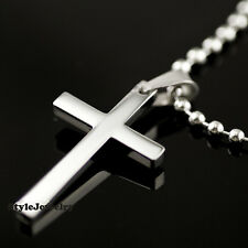 Titanium Mens Silver Cross pendant with Chain Necklace Classic MN17