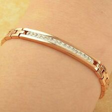 "7.67"" 18K Rose Gold Filled Womens Mens Fashion Crystal Bracelet Free Shipping"