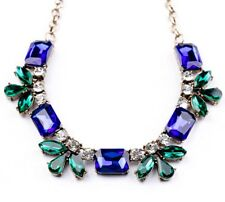 GREEN BLUE & CLEAR CRYSTAL RHINESTONE Chunky Pendant Choker Statement Necklace