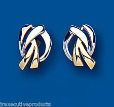 9ct Two Colour Gold Stud Earrings 10 x 7mm (6791)