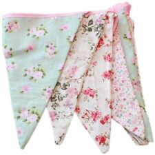 VINTAGE FLORAL FABRIC FLAG BUNTING GARLAND SHABBY CHIC TEA PARTY BANNER 3M
