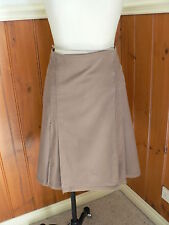 PRE LOVED LADIES COUNTRY ROAD SIZE 8 LIGHT BROWN WRAP PLEATS SKIRT PRESS STUDS