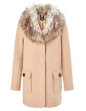 QUALITY SIZE 14 LIPSY FUR COLLAR WOOL NATURAL / BEIGE COAT NEW IN £100!!