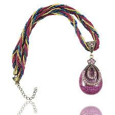 Vintage Schmuck Antik Gold & Lila Tropfen Form Halskette Mit Anhänger N124