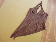 LADIES BROWN METALLIC STRIPED HALTER STYLE SHEER TOP BY SUPRE -SIZE L - 10/12