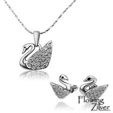 "White Gold Plated Swarovski Rhinestone Swan Necklace + Stud Earrings SET 18"" 45"
