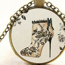 New Floral Boot High Heel, Pendant Necklace, Vintage Style Gift, Rockabilly Shoe