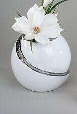 Moderne runde Deko Vase Blumenvase aus Keramik in weiß/silber weiß Höhe 15 cm