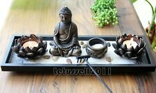MEDITATION BUDDHA SCULPTURE LOTUS TEA LIGHT CANDLE HOLDERS HOME DECOR ART SET