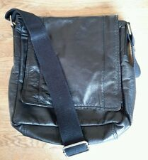 MONSOON BLACK LEATHER MESSENGER BAG