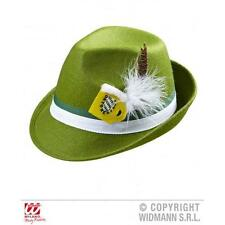 Green Bavarian Felt Fedora With Feathers Octoberfest Beer Festival Fancy Dress