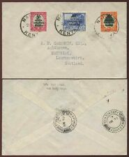 KUT KENYA OVERPRINTS on SOUTH AFRICA to SCOTLAND 1942 MARYKIRK VILLAGE POSTMARKS