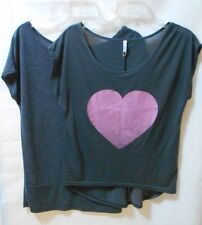 2 x Grey Spring/Summer Batwing Tops - Jay Jays & Rt with Pink Heart Motif - Sz M