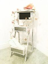 Shabby Chic Ladder Stand Display Unit Folding Florist Wood Step Shop Shelf Stall