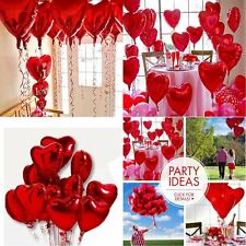 """10x 18"""" Red Heart Love Foil Helium Balloons Valentines Wedding Engagement Party"""