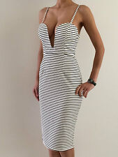 Sexy Women's Striped Bodycon Sleeveless Evening Party Midi Dress Size 10-12 NEW