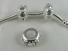 GLITTERING  SP SPACER WITH  CLEAR RHINESTONES FOR EUROPEAN STYLE CHARM BRACELETS