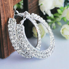Lady Silver 2 Row Crystal Diamante Rhinestone Round Hoop Earring Jewellery 30MM