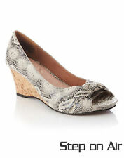 Autograph snake print 6cm Wedge heel leather sock peep toe Shoes 8 STEP ON AIR