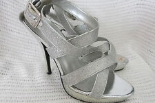Ladies High Heel Shoes Size 37 (7) Silver Glitter