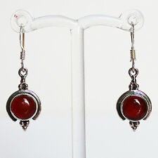 925 Sterling Silver Semi-Precious Natural Stone Drop Earrings - Red Onyx