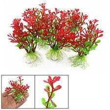 5Pcs Red Green Plastic Plant Decor & Ceramic Base for Fish Tank Aquarium PK