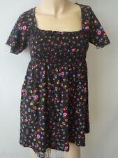 ☆ Ladies Black Flower Print Short Sleeved Longline Top UK 10 EU 38 ☆