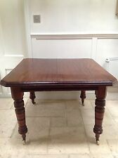 Antique Victorian Mahogany Wind Out Extending Dining Table on Castors