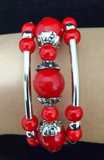 Beautiful tibet handmade style tibetan silver turquoise red coral Bracelet