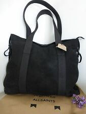 BNWT All Saints Thorpe Black Suede Leather Men's Tote Work Bag  RRP £228