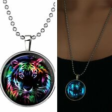 Colorful Animal Tiger Glow In Dark Pendant Necklace Womens Sweater Long Chain
