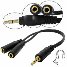 AUX Male to 2 Dual Female Audio Jack Headphone Mic Splitter 3.5mm Cable Adapter