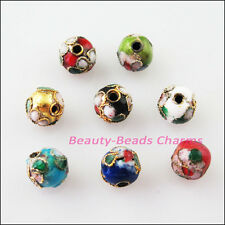 16Pcs Vintage Mixed Enamel Cloisonne Round Accessories Spacer Beads Charms 6mm