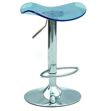 2x Acrylic Swivel Bar Stool Vanity Counter Chair Adjustable Gaslift Hom/Caf Blue