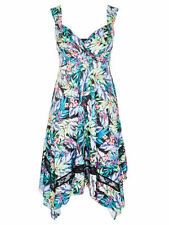 CROSSROADS holiday spring summer tropical print party dress asymmetric hem 22