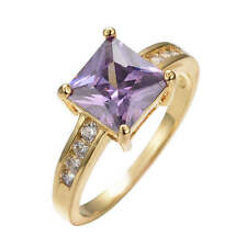 Women's Wedding Engagement Amethyst Ring Zircon 10KT Yellow Gold Filled Fashion