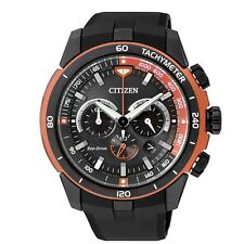 Citizen Eco-Drive Resin Band Mens Steel Case Chronograph Watch CA4154-07E