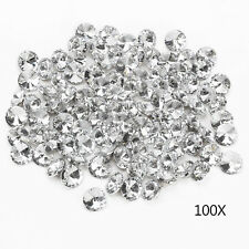 100pcs 25MM Clear Faceted Glass Crystal Diamante Rhinestone Silver Buttons