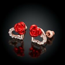NEW ARRIVAL ROSE GOLD PLATED CRYSTAL STUD EARRING WITH RED FLOWER HEART DESIGN