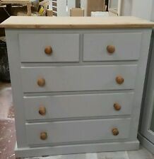 OLD MILL FURNITURE COUNTRY COLLECTION 3+2 DRAWER CHEST GREY WITH WAXED TRIM